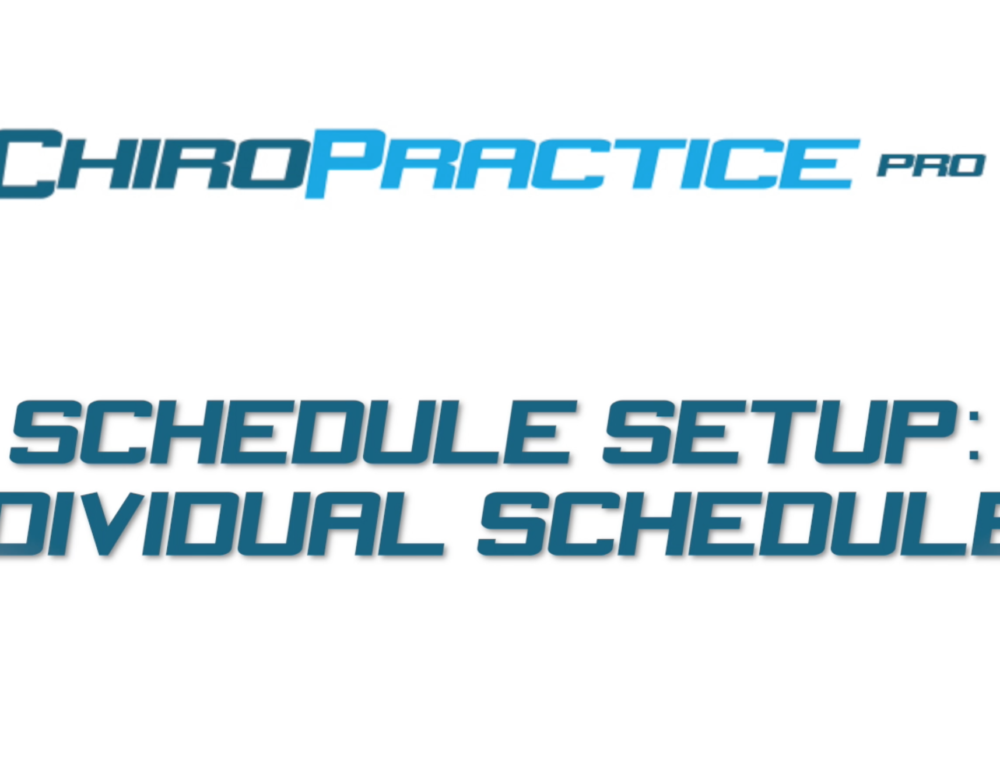Schedule Setup Part 2: Individual Schedules